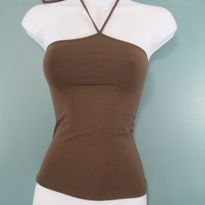 Theory For Scoop Brown Stretch Halter Top